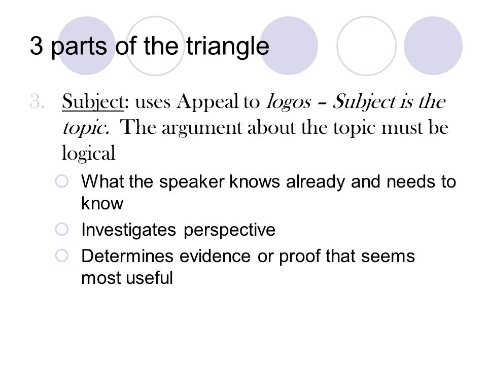 3 parts of the triangle Subject: uses Appeal to logos – Subject is the topic. The argument about the topic must be logical.