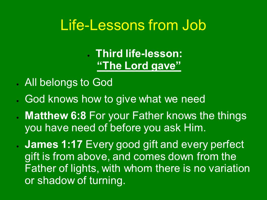 Life-Lessons from Job Job 1: Then Job arose, tore his robe