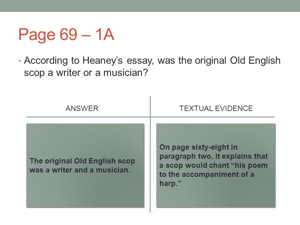 august   get your answers from yesterdays work at the front  page   a according to heaneys essay was the original old english scop  a