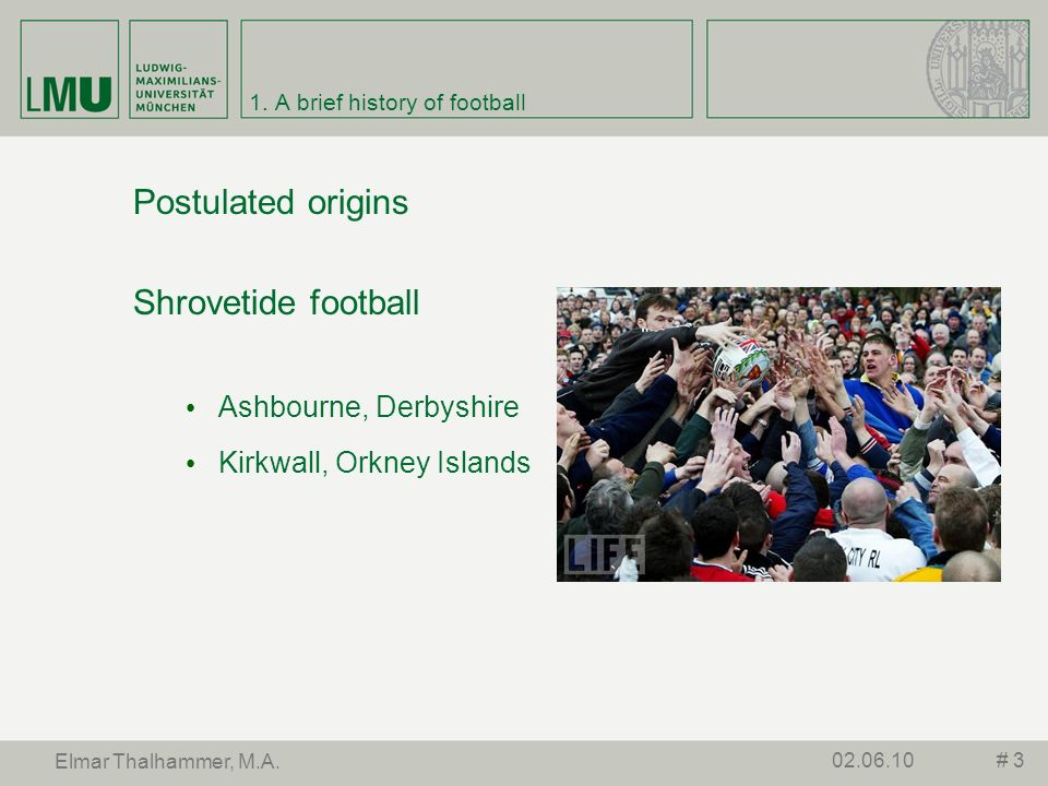 1. A brief history of football