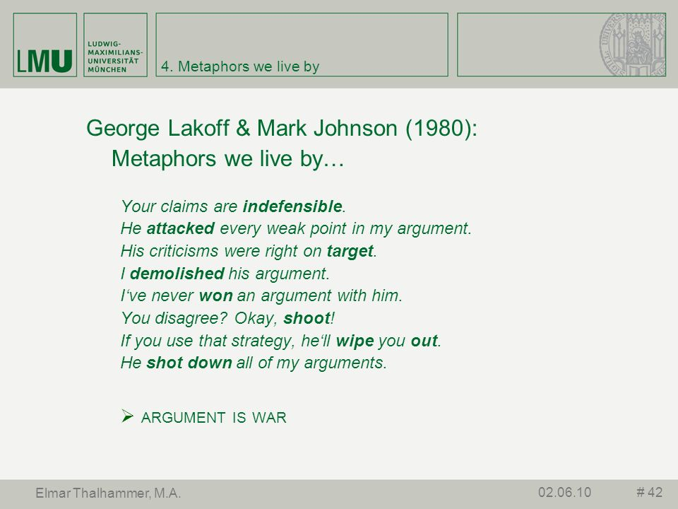 George Lakoff & Mark Johnson (1980): Metaphors we live by…