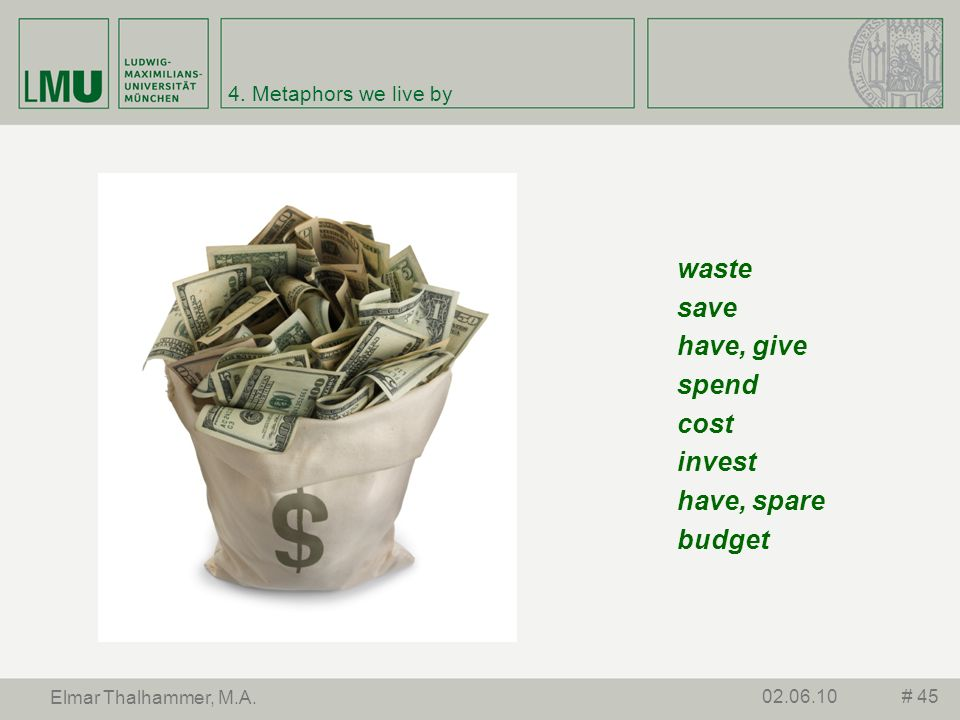 waste save have, give spend cost invest have, spare budget