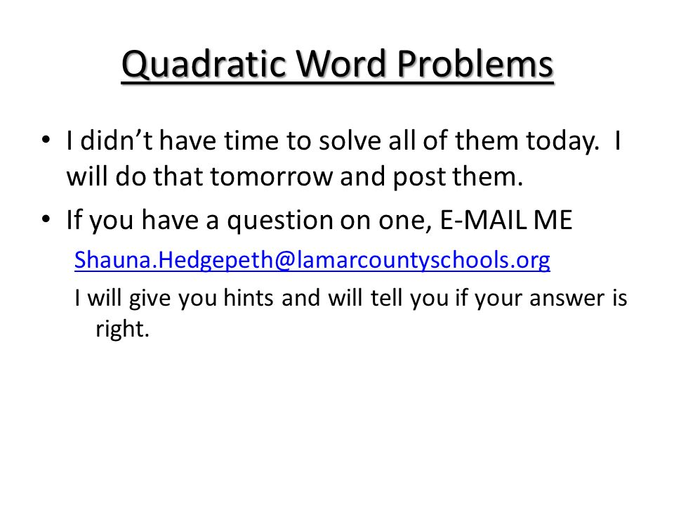 quadratic functions word problems Engaging math & science practice improve your skills with free problems in 'solving word problems involving quadratic functions' and thousands of other practice lessons.