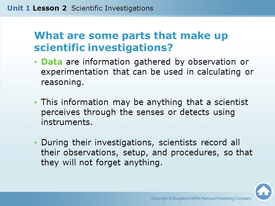 What are some parts that make up scientific investigations