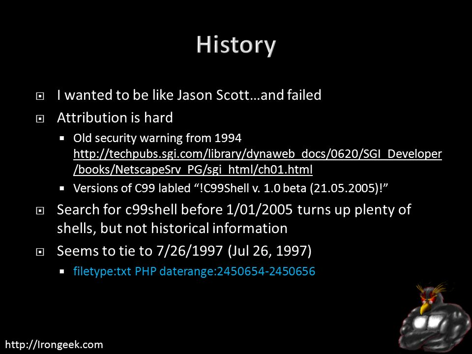 WebShells History, Techniques, Obfuscation and Automated