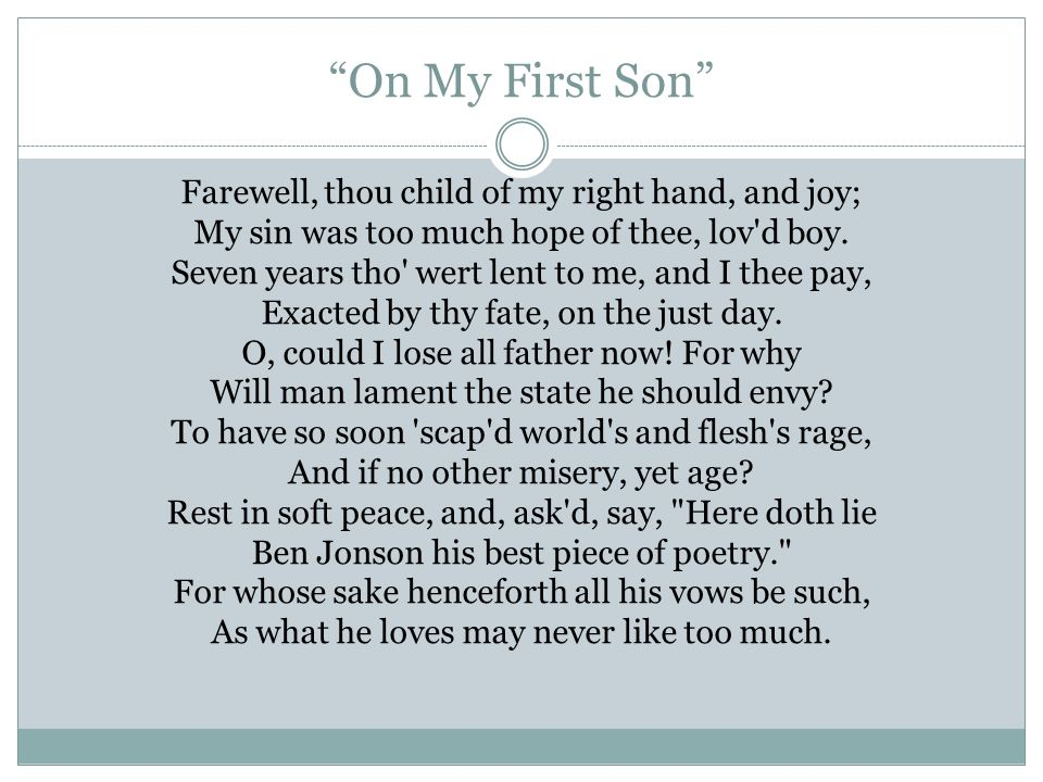 theme of on my first son