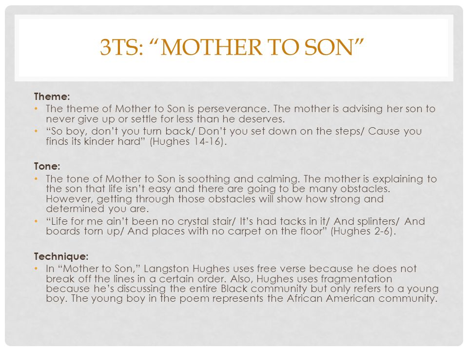 langston hughes mother to son summary