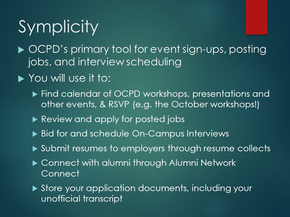 Welcome to OCPD & Symplicity - ppt download