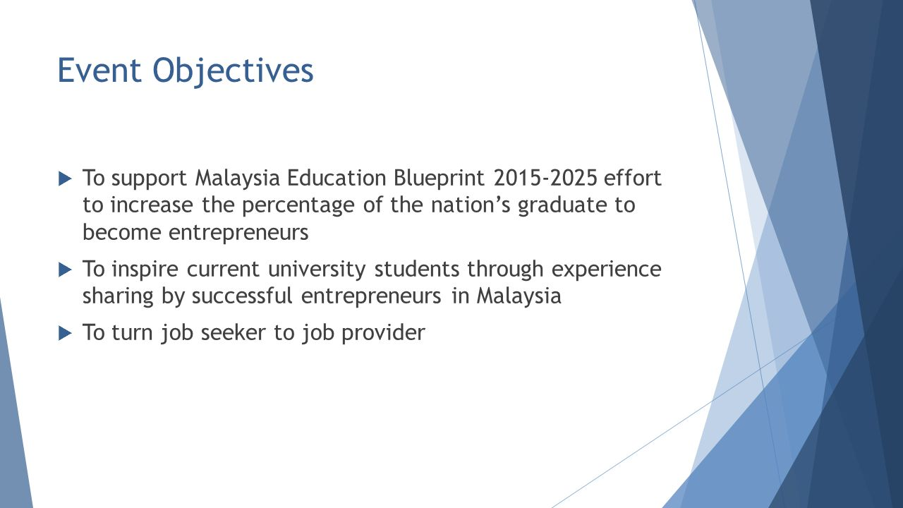 Student entrepreneurial experience malaysia ppt video online download 2 event objectives to support malaysia education blueprint malvernweather Image collections