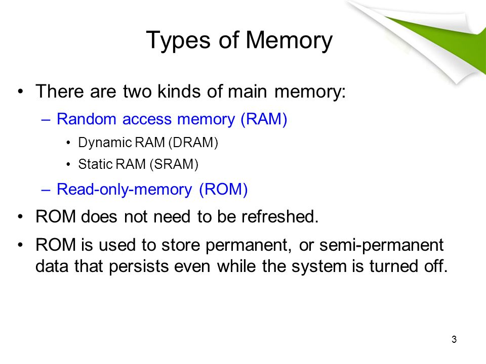 3 Types Of Memory There Are Two