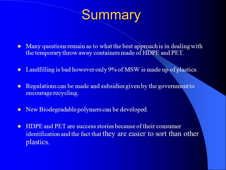 A Comparison of HDPE and PET: Life Cycle Analysis - ppt