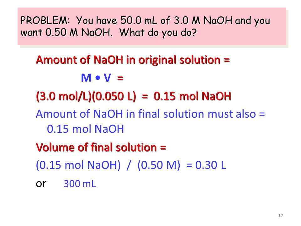 Amount of NaOH in original solution = M • V =