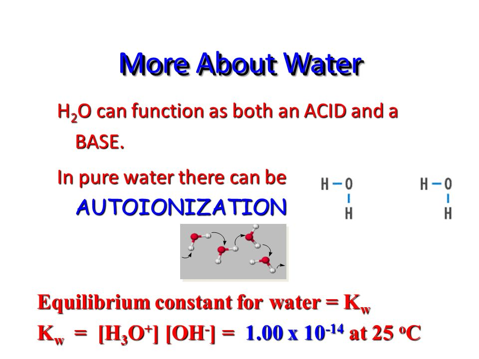 More About Water H2O can function as both an ACID and a BASE.