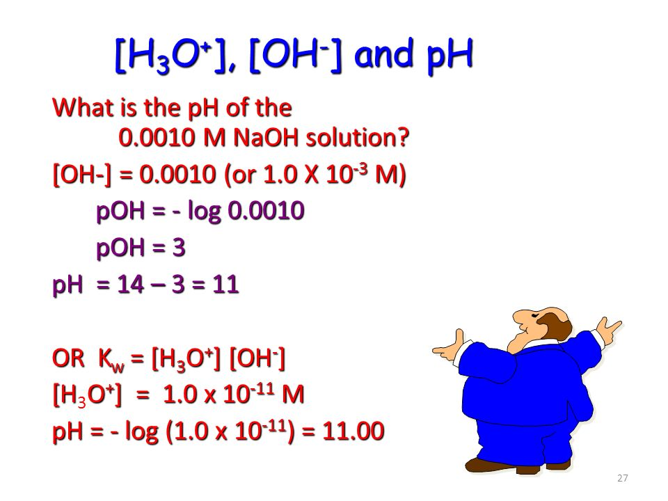 [H3O+], [OH-] and pH What is the pH of the M NaOH solution