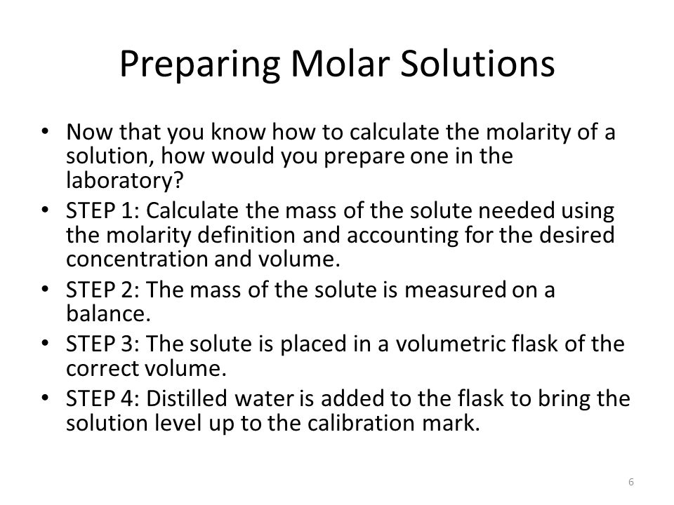 Preparing Molar Solutions