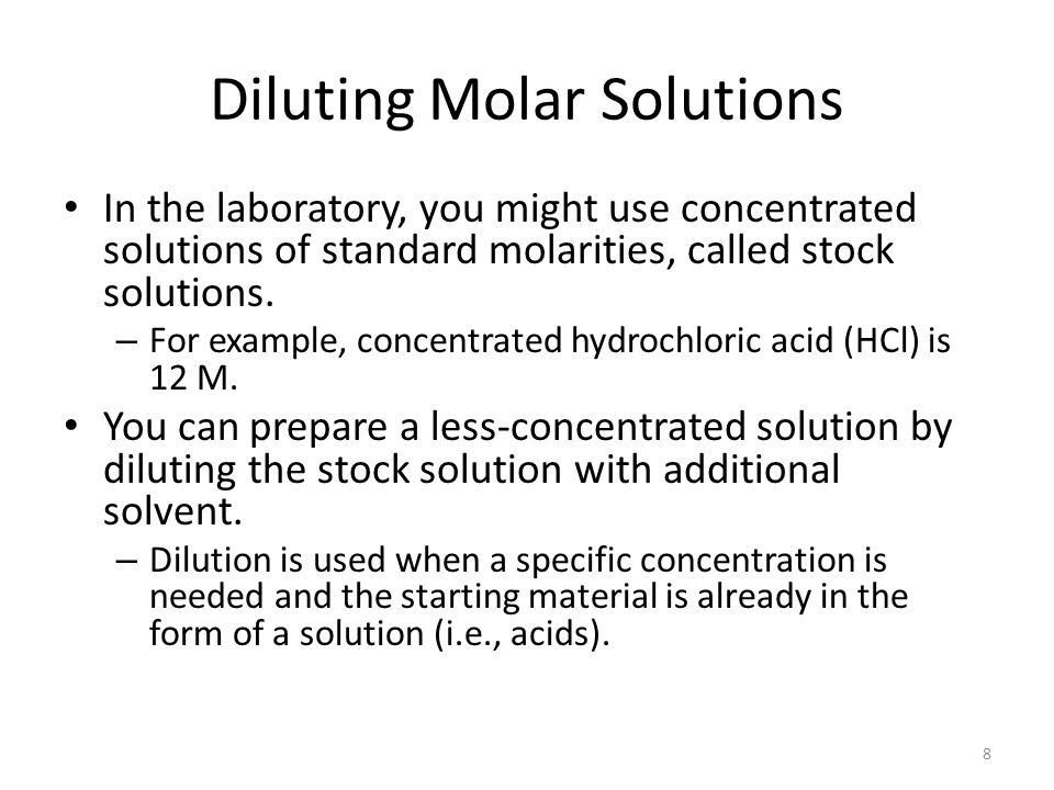 Diluting Molar Solutions