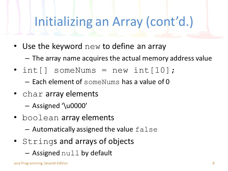 Chapter 8: Arrays  - ppt video online download