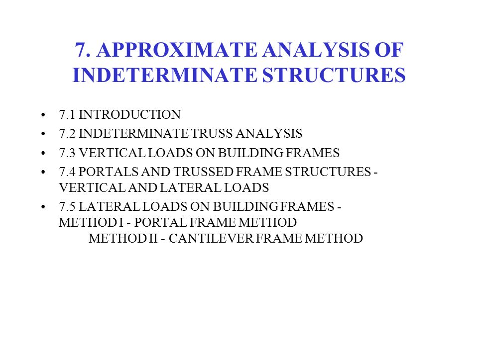 7. APPROXIMATE ANALYSIS OF INDETERMINATE STRUCTURES - ppt video ...
