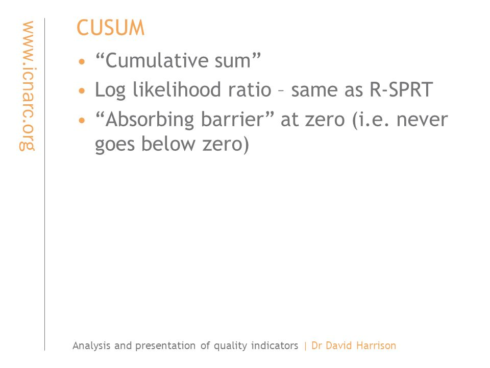 Analysis and presentation of quality indicators