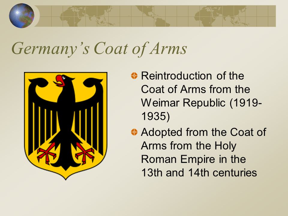 Germany's Coat of Arms Reintroduction of the Coat of Arms from the Weimar Republic (1919-1935)