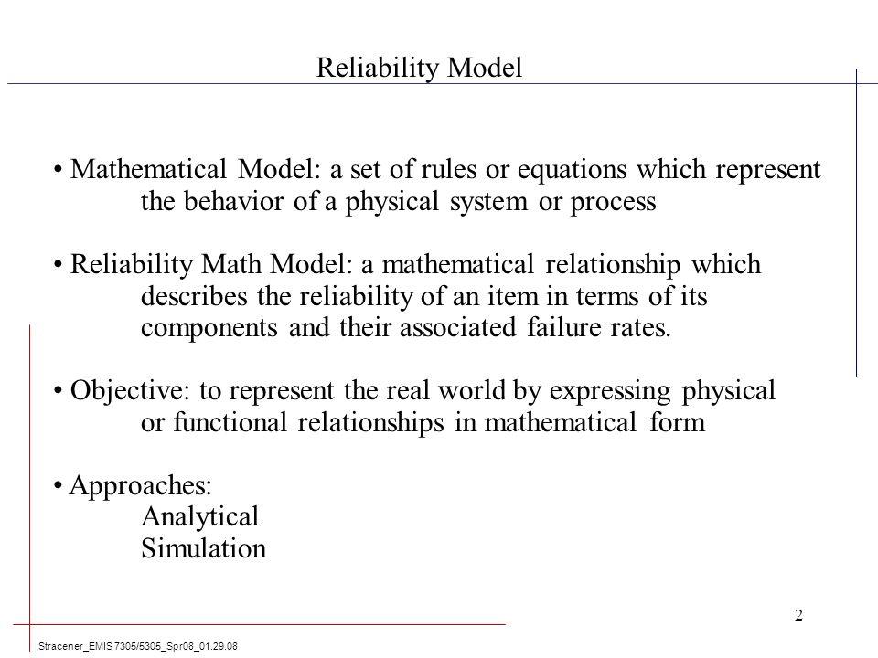 Reliability Models & Applications Leadership in Engineering