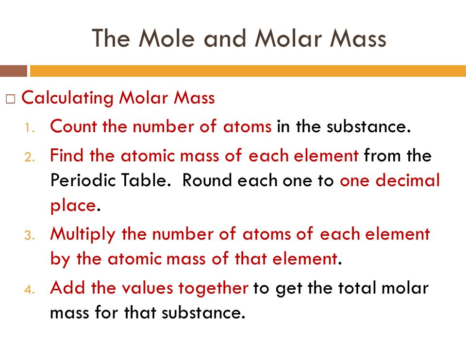 Unit 6 chemical quantities ppt download the mole and molar mass calculating molar mass urtaz Gallery