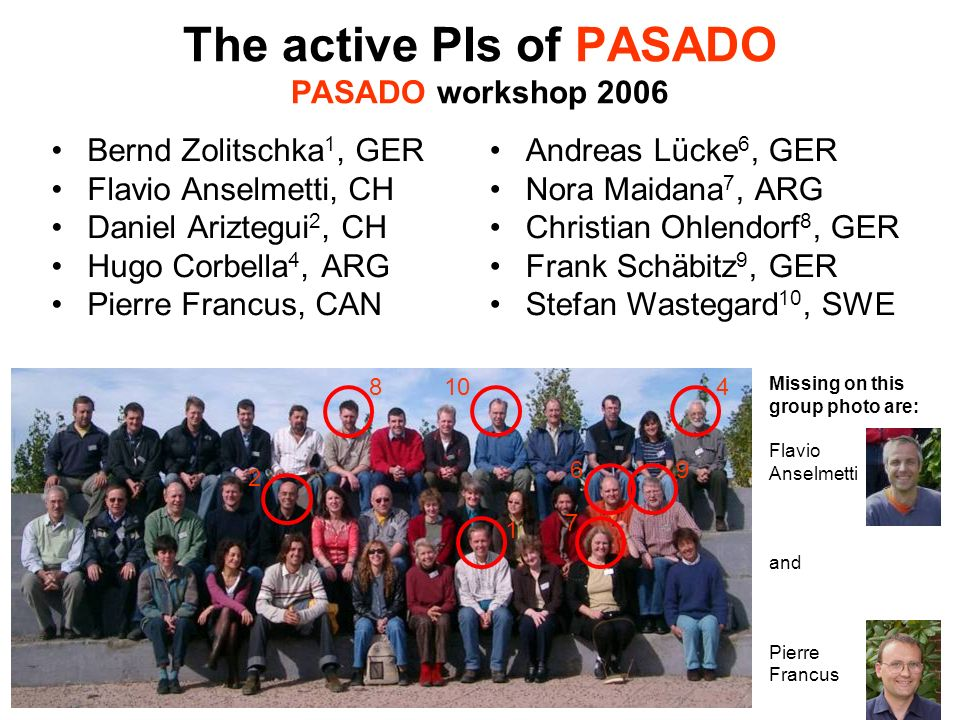 The active PIs of PASADO PASADO workshop 2006