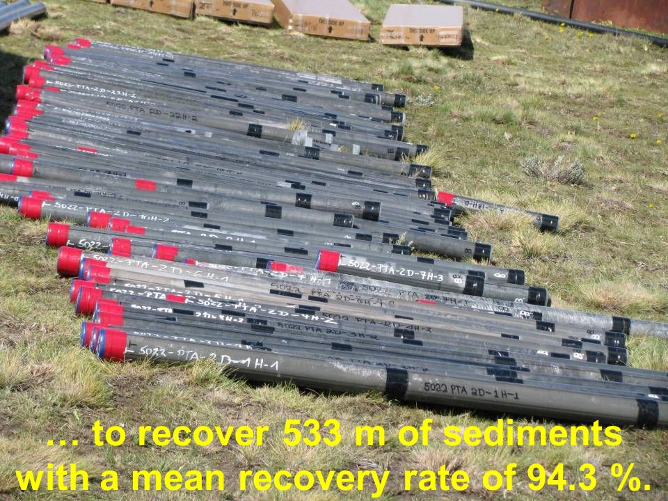 … to recover 533 m of sediments with a mean recovery rate of 94.3 %.