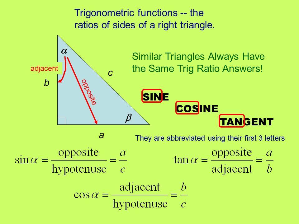 Unit 8 Right Triangle Trig Trigonometric Ratios In Right Triangles