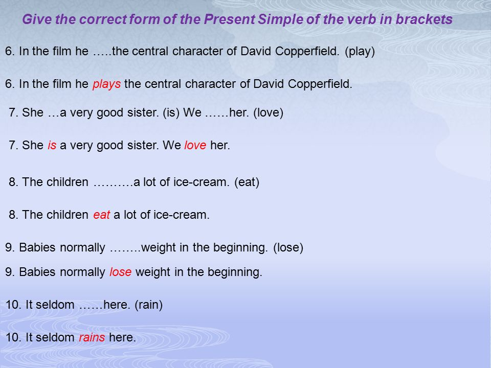 Give the correct form of the Present Simple of the verb in brackets