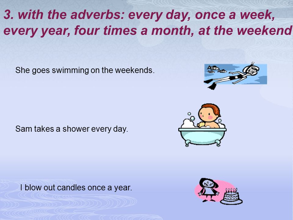 3. with the adverbs: every day, once a week,