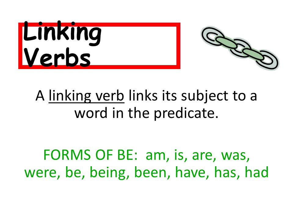 Linking Verbs A linking verb links its subject to a word in the predicate.