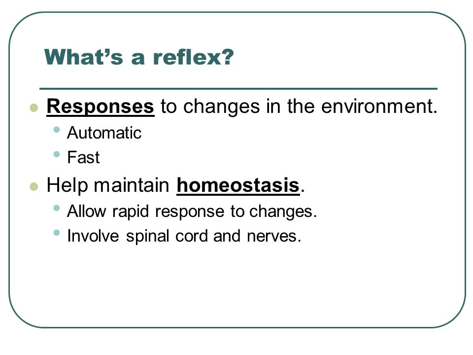 What's a reflex Responses to changes in the environment.