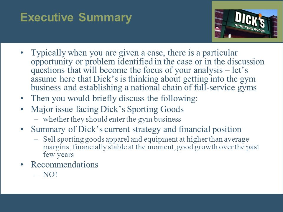 Swot analysis dick sporting goods