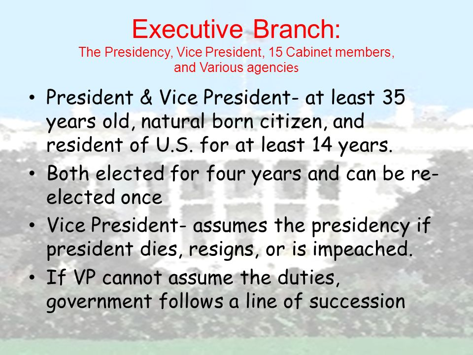Executive Branch: The Presidency, Vice President, 15 Cabinet Members, And  Various Agencies