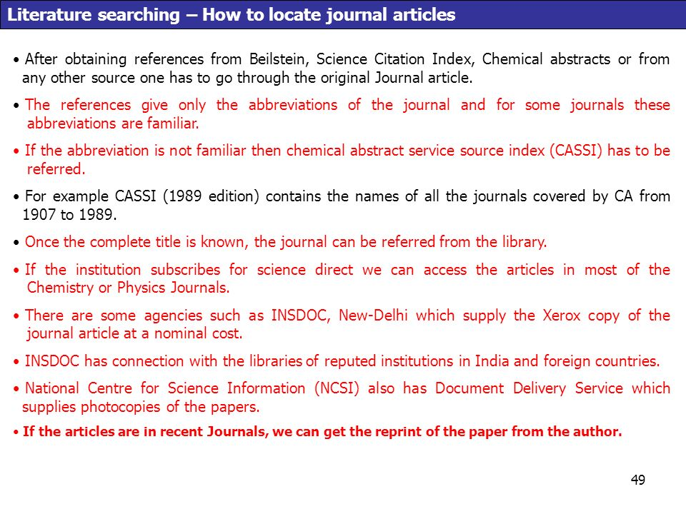 Literature Searching How To Locate Journal Articles