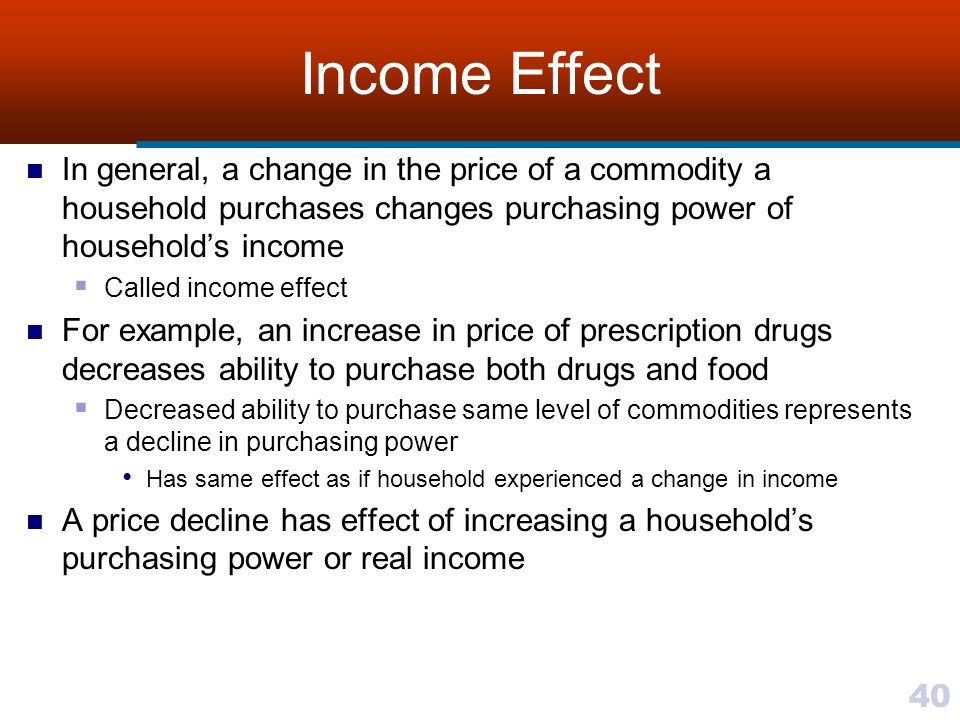 income effect The income effect, in microeconomics, is the change in demand for a good or service caused by a change in a consumer's purchasing power resulting from a change in real income.
