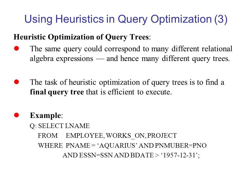 Query Processing and Optimization - ppt video online download