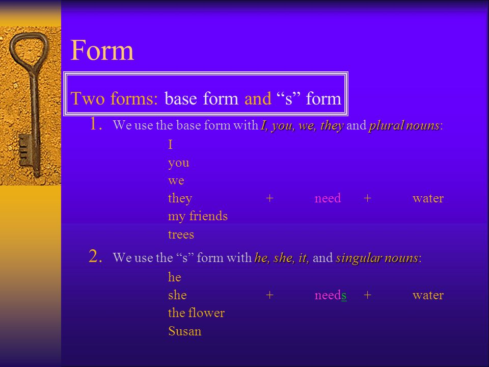 Form Two forms: base form and s form