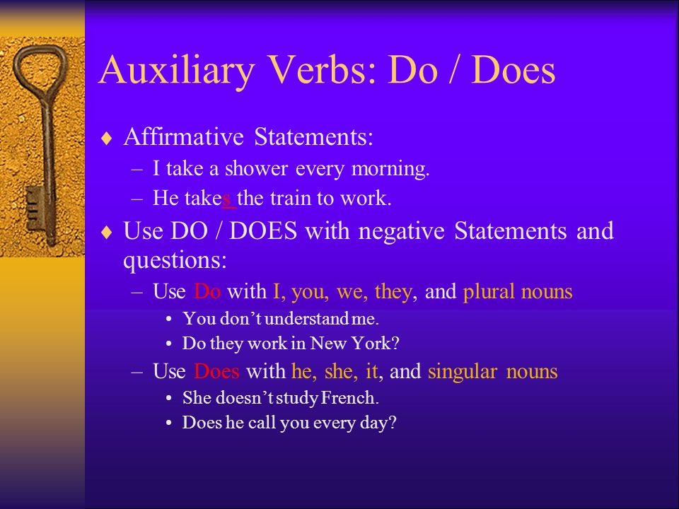 Auxiliary Verbs: Do / Does