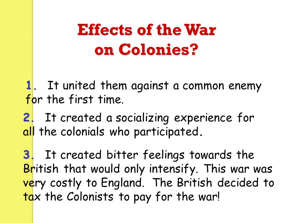Effects of the War on Colonies