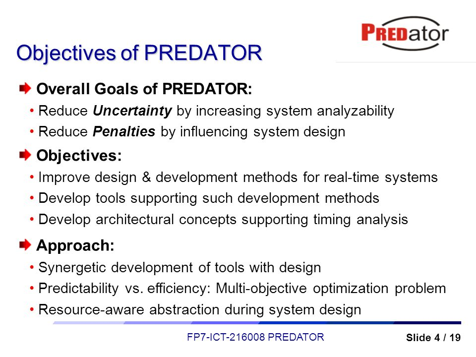 Objectives of PREDATOR