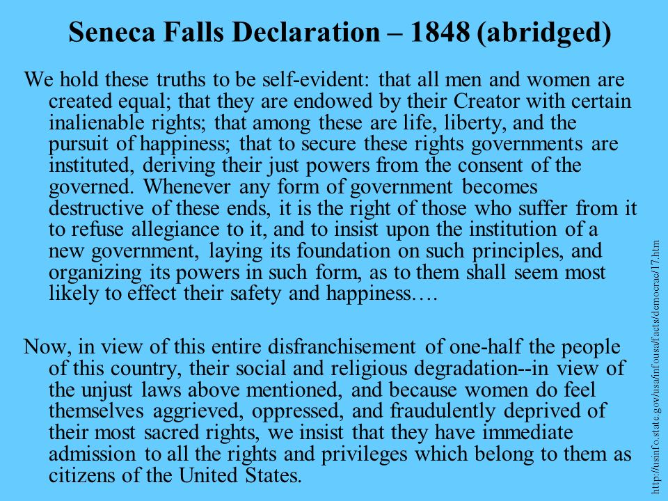 Seneca Falls Declaration – 1848 (abridged)