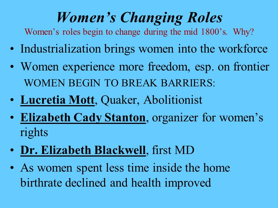 Women's Changing Roles Women's roles begin to change during the mid 1800's. Why