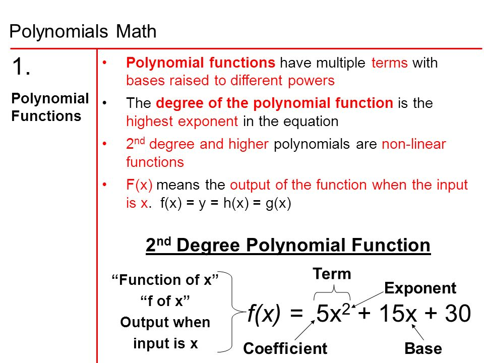 2nd degree polynomial function ppt download
