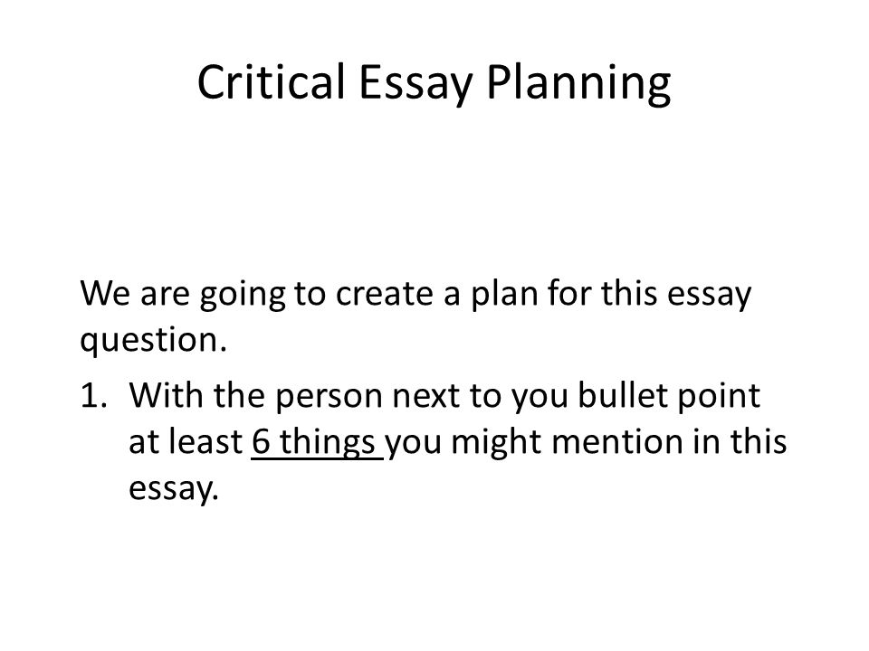 how to create an essay plan