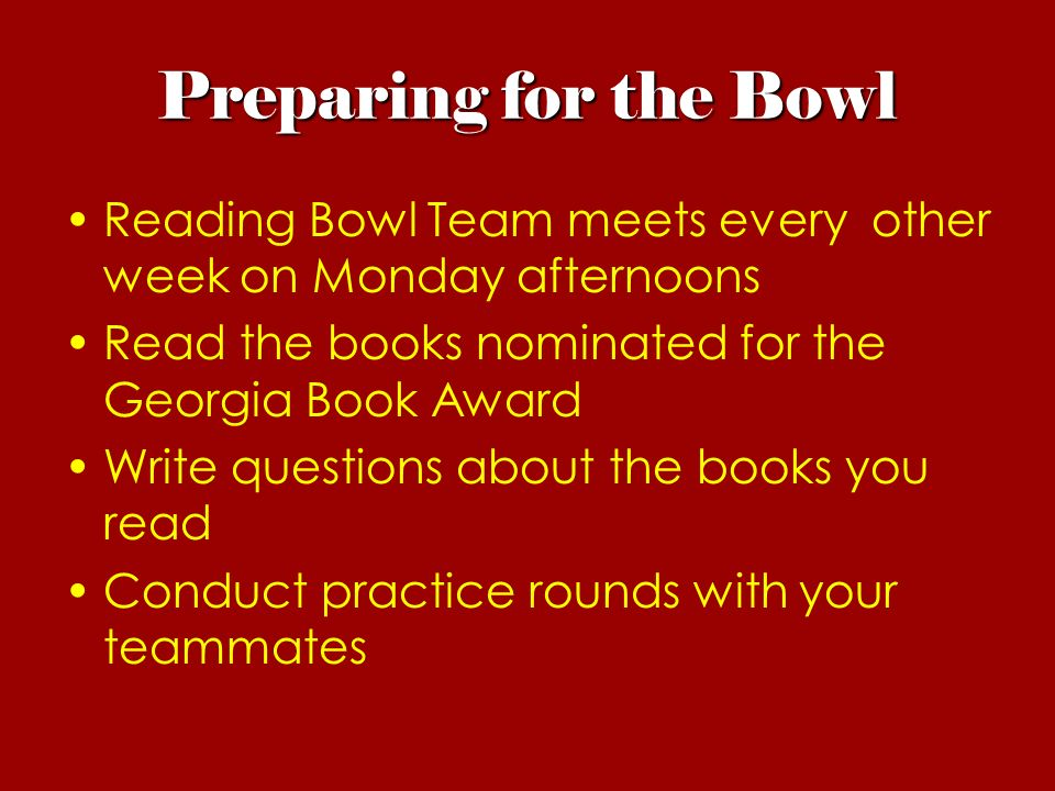 What is the Helen Ruffin Reading Bowl? - ppt video online