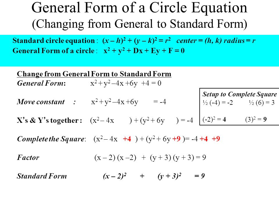 General To Standard Form Circle Choice Image Free Form Design Examples