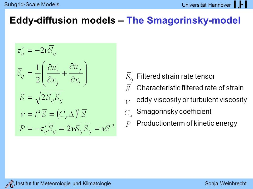 Eddy-diffusion models – The Smagorinsky-model