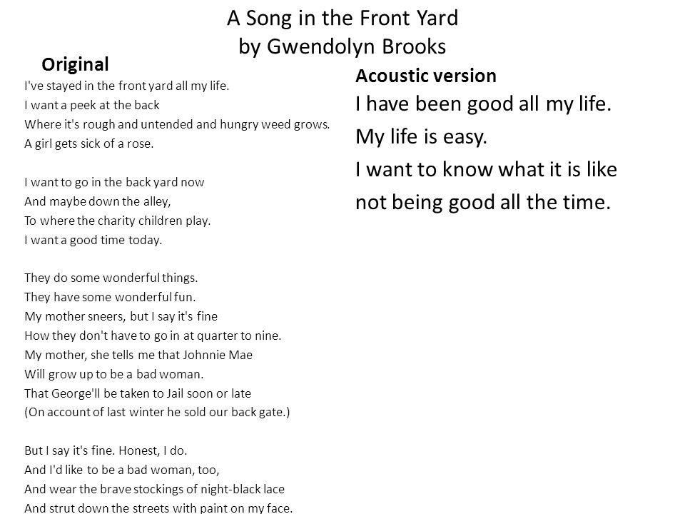 a song in the front yard theme